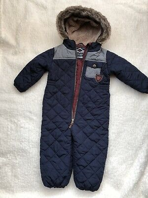 Boys Padded All In One Winter Suit, Next, Navy, Hooded, Age 2-3years