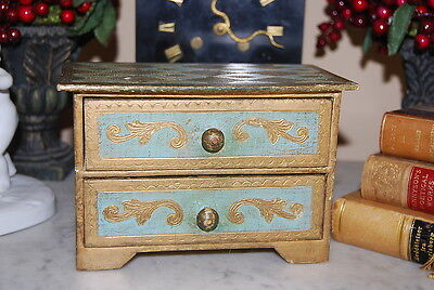 Old Florentine Italy Gold & Green Vanity Table Two Drawer Jewelry Chest Wood Box