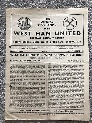 West Ham United V West Bromwich Albion Match Programme  -FA Cup Third Round 1953