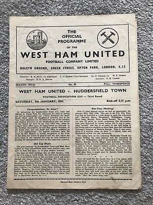 West Ham United v Huddersfield Town Match Programme - FA Cup Third Round 1954