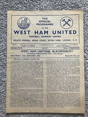 West Ham United v Blackpool Match Programme - FA Cup 3rd Round 1952