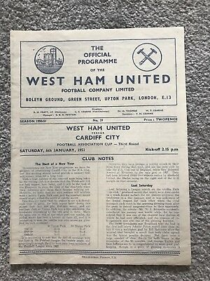 West Ham United v Cardiff City Match Programme - FA Cup 3rd Round 1951