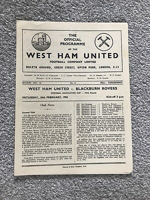 West Ham United v Blackburn Rovers Match Programme - FA Cup Fifth Round 1956