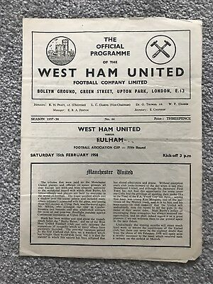 West Ham United v Fulham Match Programme - FA Cup Fifth Round 1958