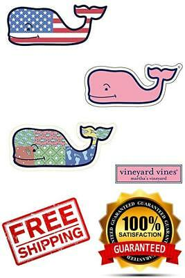 3X VINEYARD VINES Whale Vinyl Stickers - American Flag, Patchwork, Classic Pink