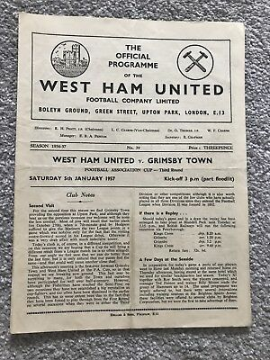 West Ham United v Grimsby Town Match Programme - FA Cup Third Round 1957