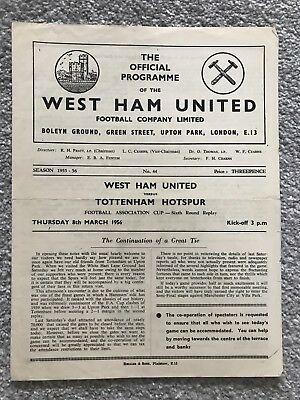 West Ham v Tottenham Hotspur Match Programme - FA Cup 6th Round Replay 1956