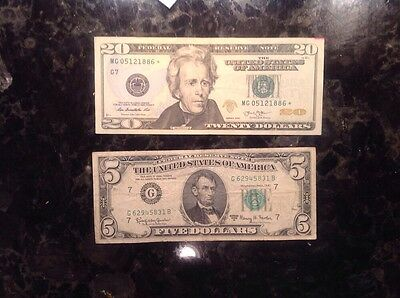 2013 $20 Federal Reserve Note - STAR NOTE  + 1963 A $5 FRN - Chicago