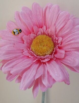 VW flower Sparkly Shimmer YELLOW Gerbera Flower and Bee VW Beetle universal
