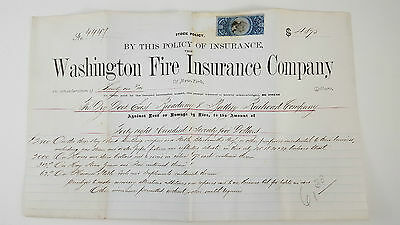 The Dry Dock East Broadway & Battery Railroad Company 1873 Insurance Policy