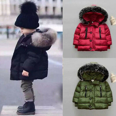Baby Kids Girl Boy Winter Cotton Hooded Coat Jacket Warm Zipper Outwear Clothes