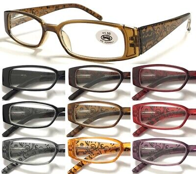 L362 Superb Reading Glasses/Ladies Flower Design Fashion/Spring Hinges/8 Colours