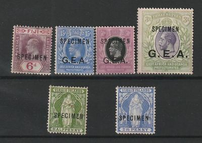 British Colonies 7 optd SPECIMEN stamps with G.E.A. vf MNG