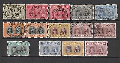 Rhodesia used selection of 14 double heads (3X MNG)