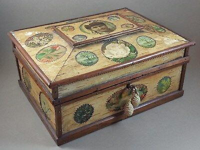 Antique Sewing Box 1884-87? Handmade With Wedding Photo Contents & Key Beautiful