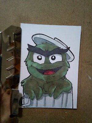Original art card ACEO Grouch - Sesame Street