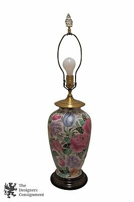 Vintage wildwood asian inspired table lamp wood brass and vintage wildwood floral porcelain brass table lamp w lotus finial wood base aloadofball Choice Image
