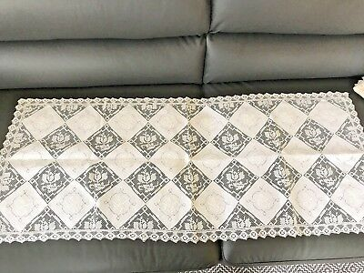 Stunning Vtg Antique Banquet Army Navy Hand Embroidery Filet Linen Table Runner