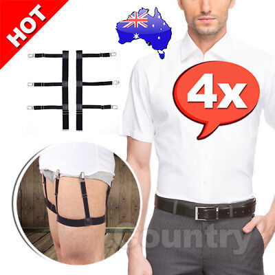 2X Pairs Men Shirt Stays Holder Garters Suspenders Military Uniform Locking AU