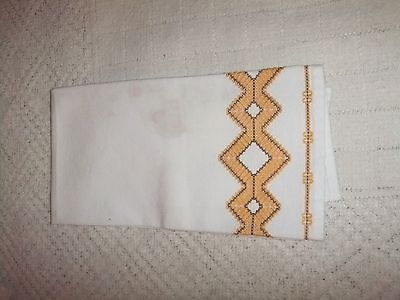 Vintage Kitchen Hand Towel Swedish Embroidery White/Gold...#3KTO