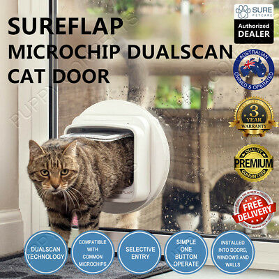 SureFlap Microchip Dual Scan Cat Door White Brown Selective Keep Out Unwanted