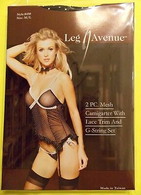 NWT Leg Avenue 2 Pc.Mesh Cami Garter with lace trim and G-string Set, M/L