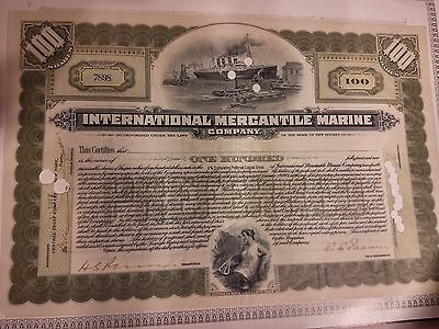 Wertpapier USA International Mercantile Marine 100 shares №7898 13.04.1917 rar
