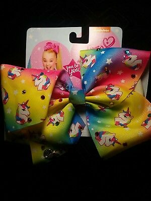 Jojo Siwa Bow Large Unicorn Multicolor Stones