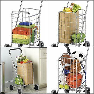 Large Rolling Shopping Cart Trolley Steal Frame foam handle foldable chrome