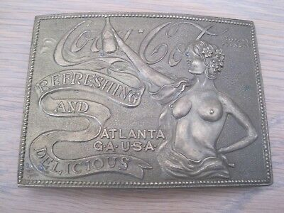 Vintage Large Brass Belt Buckle Coca Cola Tiffany Foundry Deane & Adams