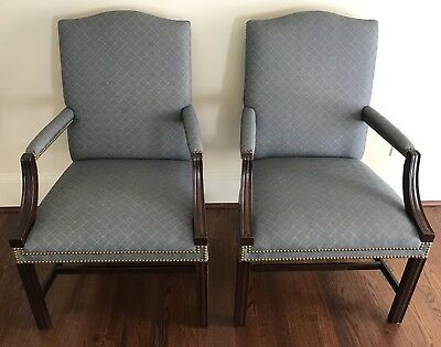 Pair KINDEL Lolling/Lounge/Arm Chairs - Mahogany