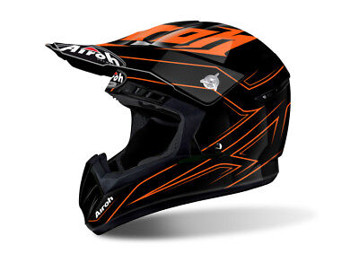 Airoh Switch Spacer Orange Motocross Helmet - Acu Gold Stamp Fitted