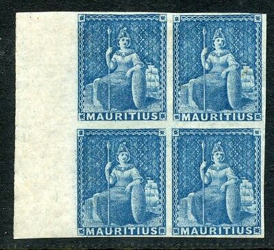 Mauritius 1858-62 (no value) blue in MNH/MH block of four SG 31