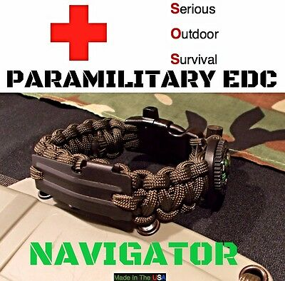 Paracord Edc Survival Bracelet Flint Fire Comp 550 Cord Whistle