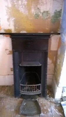 Victorian Bedroom Fireplace Cast Iron Fire Back, Damper and Grate