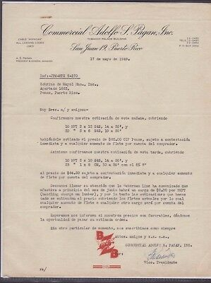 Vtg Letter / Adolfo S Pagan / Tobacco Palace Building / Sj  Puerto Rico 1949