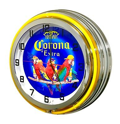 "CORONA PARROT PARTY NEON CLOCK - 19"" Diameter"
