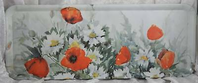Melamaster plastic poppy decorated tray 15.5 inches long x 6 inches wide teatime
