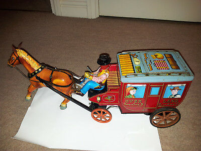 Vintage Rare Battery Tinplate Stage Coach Working!!