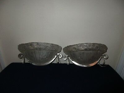 Vintage French Art Deco Glass Metal Pair of Wall Sconces Lights Lamps