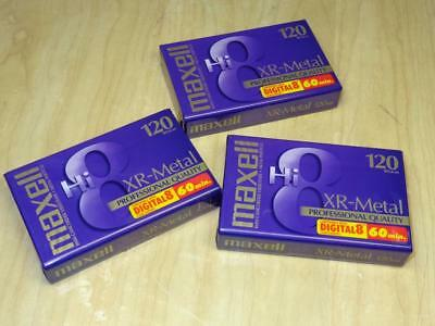 3 Maxell XR-Metal Hi8 120 Digital 8mm Camcorder Tapes New Factory Sealed