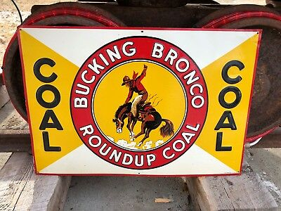 1930's Roundup Bucking Bronco Coal Embossed Tin Sign Montana Cowboy Chaps NOS