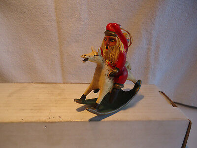 Bill Jauquet Folk Art Santa on rocking  horse Ornament  Americana Roman