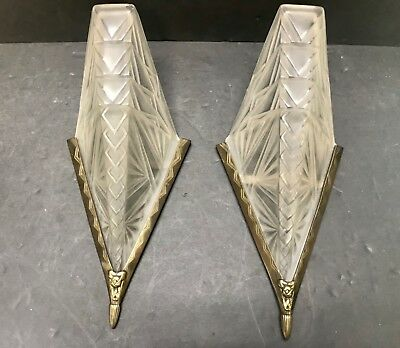 2 Art Deco Slip Shade Light Sconces In Style Of Muller Lalique Degue Unsigned