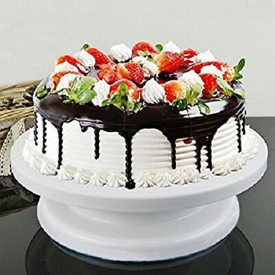 27cm Rotating White Cake Turntable Precise Cake Decoration Double As Cake Stand
