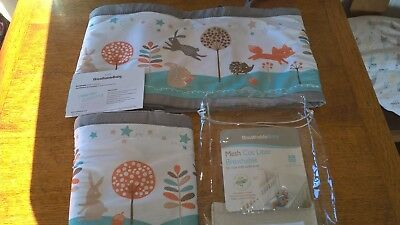 BreathableBaby Cot Mesh Liner 2-sided for cots with solid ends enchanted forest.