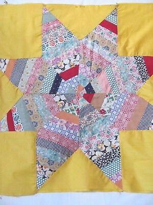 "LARGE 8-POINTED STRING STAR 20.5"" QUILT BLOCK Hand & M-Pc'd c1930-45's Gorgeous"