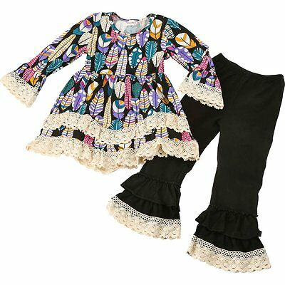 Girl's Boutique Lace and Feather Outfit with Long Sleeves and Matching Leggings