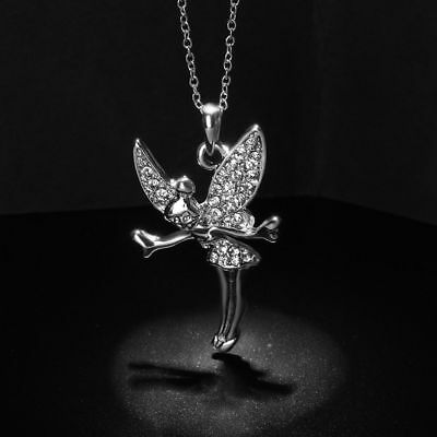 Fashion Women Fairy Angel Pendant Necklace Crystal Silver Chain