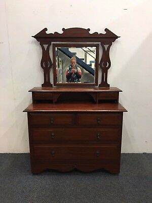 Late Victorian Mahogany Two Over Two Dressing Table